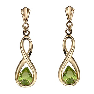 9ct Gold Peridot Figure of Eight Drop Earrings, £39.99 H Samuel