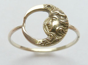 Antique Art Nouveau Lady Moon Ring 14K approximately £228, Etsy