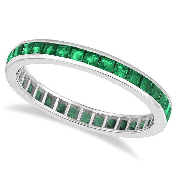 Princess-Cut Emerald Stackable Ring For Women 14k White Gold, around £433 from Etsy