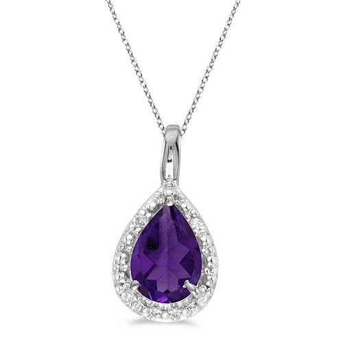 0.65ct Natural Pear Cut Purple Amethyst Pendant Necklace 14k White Gold, approximately £131 from Etsy