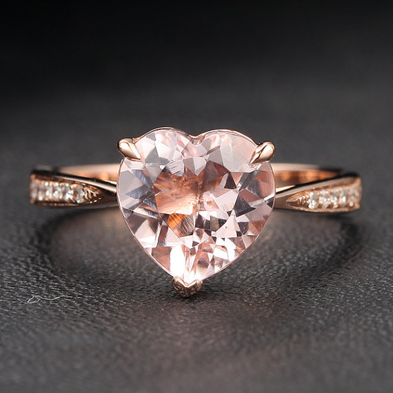 Heart Shaped Morganite 14K Rose Gold Engagement Ring, Etsy from £196.80