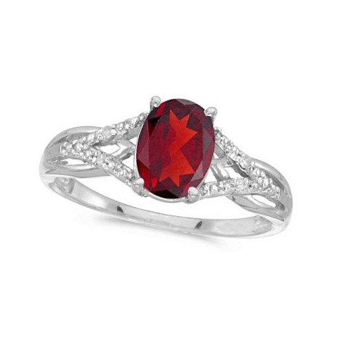 Oval Ruby and Diamond Cocktail Ring in 14K White Gold, £295.20 from Etsy