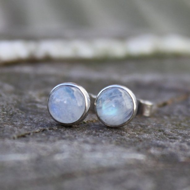 Moonstone stud earrings sterling silver, £22, Etsy