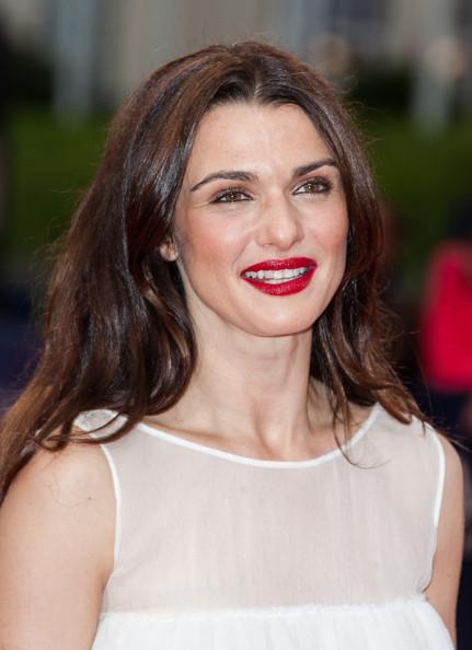 Rachel in a true red Winter lipstick