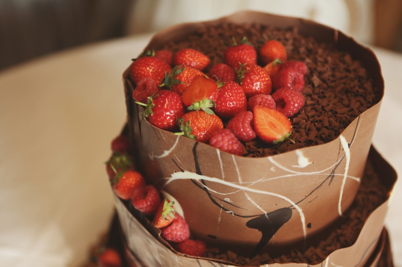Strawberry and chocolate wedding cake